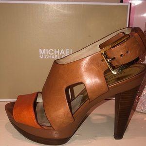 Michael Kors tan leather sandal heels